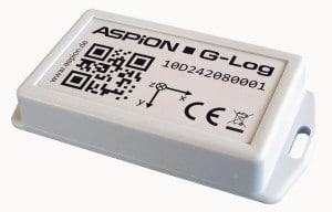 ASPION G-Log Schocksensor mit NFC - misst Beschleunigungen mit bis zu ± 16 g. Der nur 35 Gramm schwere Sensor mit seinem robusten Gehäuse kann leicht am Transportgut fixiert werden.