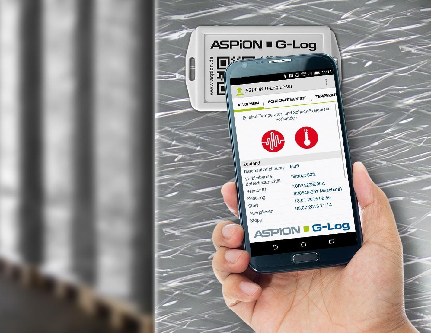 Einfach und schnell: Schock- und Temperaturwerte per Smartphone App auslesen.