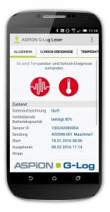 Mit der ASPION G-Log App ist für den Benutzer auf einen Blick erkennbar, ob kritische Transport-Ereignisse aufgetreten sind.