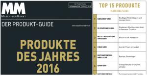 """MM MaschinenMarkt """"Produkte des Jahres 2016"""" - ASPION G-Log auf Platz 6 unter den TOP 15 Produkte im Bereich Materialfluss"""