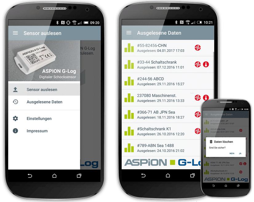 Neue Funktionen in der ASPION G-Log Smartphone App