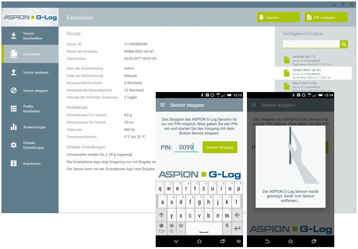 ASPION G-Log App: PIN-Schutz für Auswertungen mit dem Smartphone