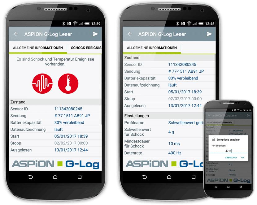 ASPION-G-Log_SmartphoneApp1_Anzeige_ohne_und_mit_PIN-Schutz