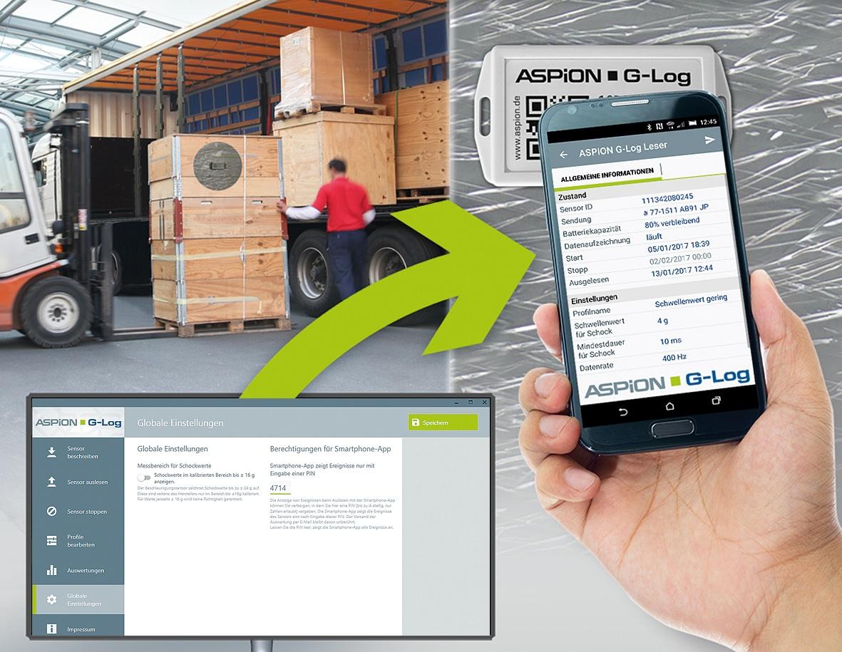 Transportüberwachung Aspion G-Log Schocküberwachung