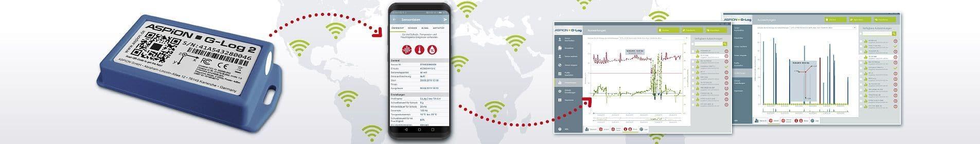 shock sensor ASPION G-Log Software, Apps und Cloud