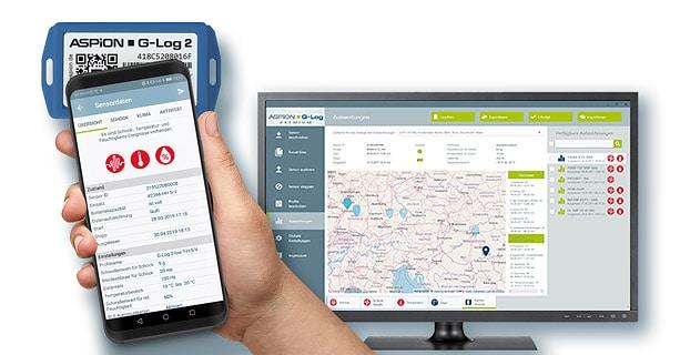 Sensordaten mit Standort werden bei Aspion Datenloggern per Smartphone App übermittelt