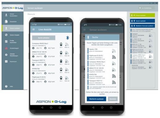 Auslesen und Liveansicht per Bluetooth von ASPION G-Log 2 Datenloggern